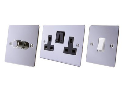 Flat Polished Chrome Cooker Control  (45 Amp Double Pole Switch and 13 Amp Socket)