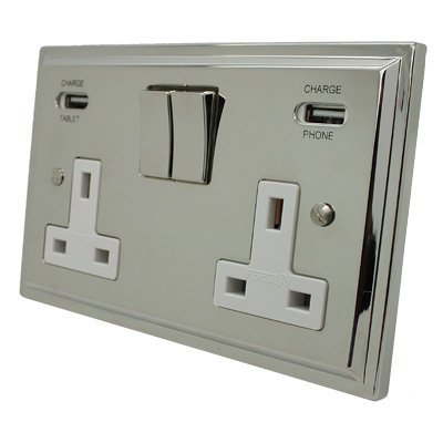 Art Deco Polished Nickel Plug Socket with USB Charging