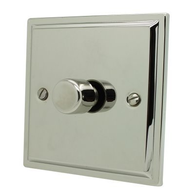 Art Deco Polished Nickel Button Dimmer
