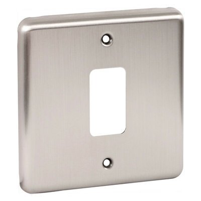 Classic Grid Brushed Steel  Sockets & Switches