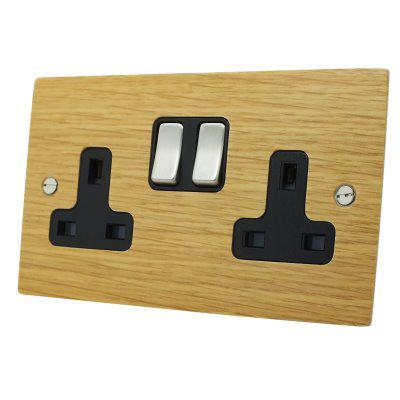 Flat Wood Veneer Oak / Satin Stainless  Sockets & Switches