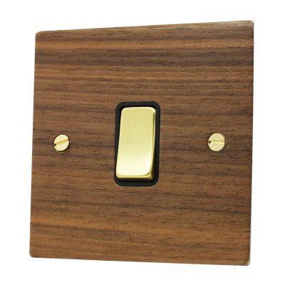Flat Wood Veneer Walnut / Polished Brass  Sockets & Switches