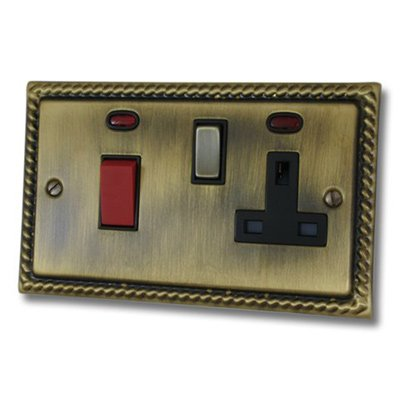 Georgian Antique Brass Cooker Control (45 Amp Double Pole Switch and 13 Amp Socket)
