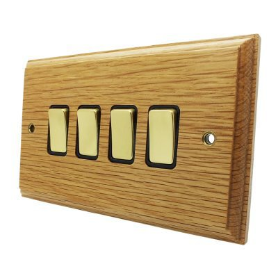 Jacobean Light Oak | Polished Brass  Sockets & Switches