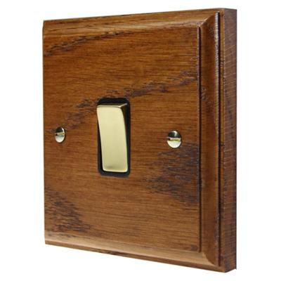 Jacobean Medium Oak   Polished Brass  Sockets & Switches