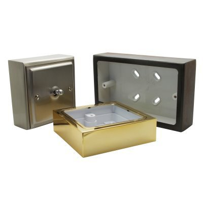 Metal Clad Polished Brass Surface Mount Boxes (Wall Boxes)