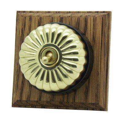 Vintage Dome (Metal) Fluted Polished Brass / Medium Oak  Sockets & Switches