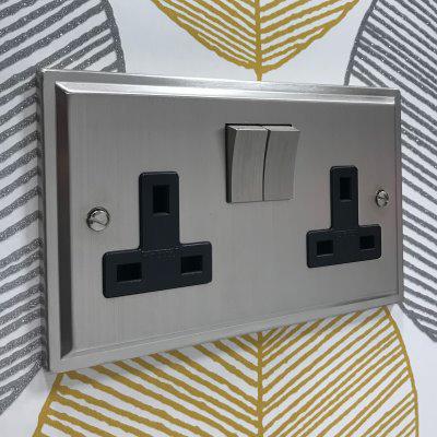 Art Deco Satin Nickel  Sockets & Switches