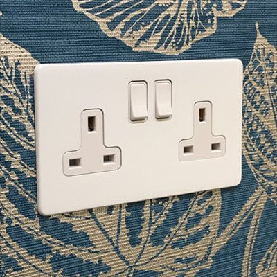 Contemporary Screwless White  Sockets & Switches