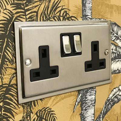 Duo Satin Chrome | Polished Chrome Edge  Sockets & Switches