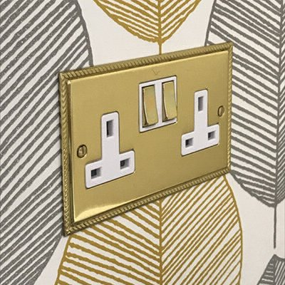 Georgian Flat Polished Brass  Sockets & Switches