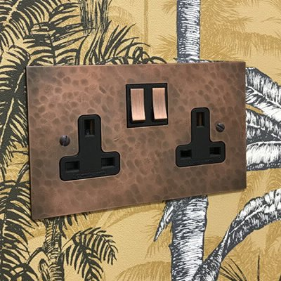 Hand Forged Hammered Copper  Sockets & Switches