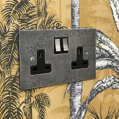 Hand Forged Hammered Pewter  Sockets & Switches