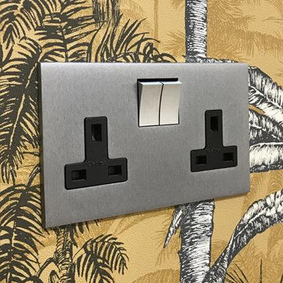 Screwless Square Satin Chrome  Sockets & Switches