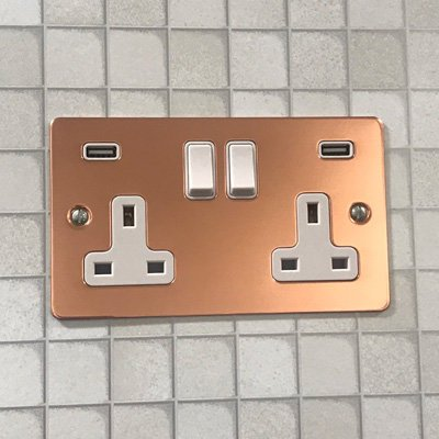 Square Classic Polished Copper  Sockets & Switches