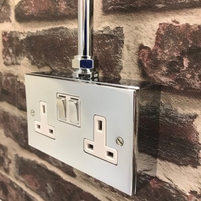 Wall Boxes with Side Wall Entry Polished Chrome  Sockets & Switches